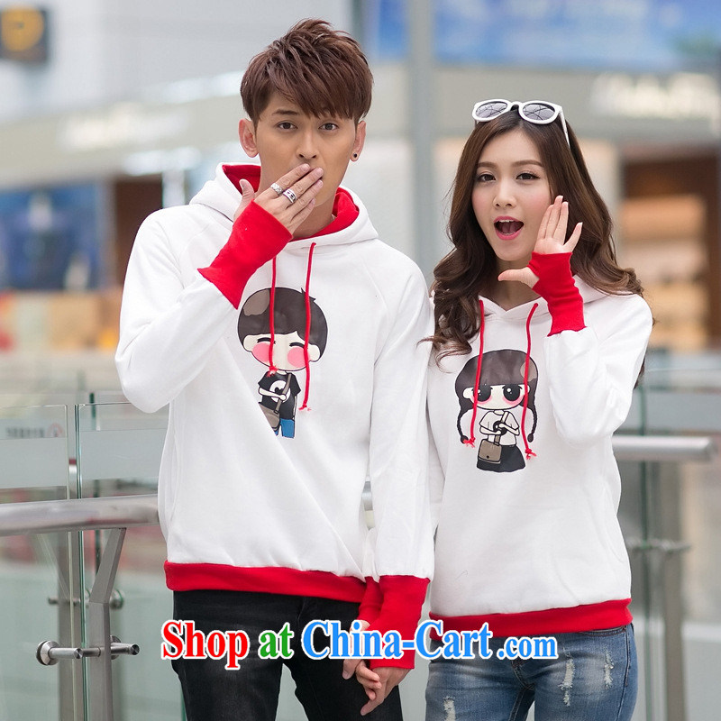 Qin Qing store for couples with autumn and the New Korean trend cartoon couples sweater men's women's coats White Red Sleeveless Men XL