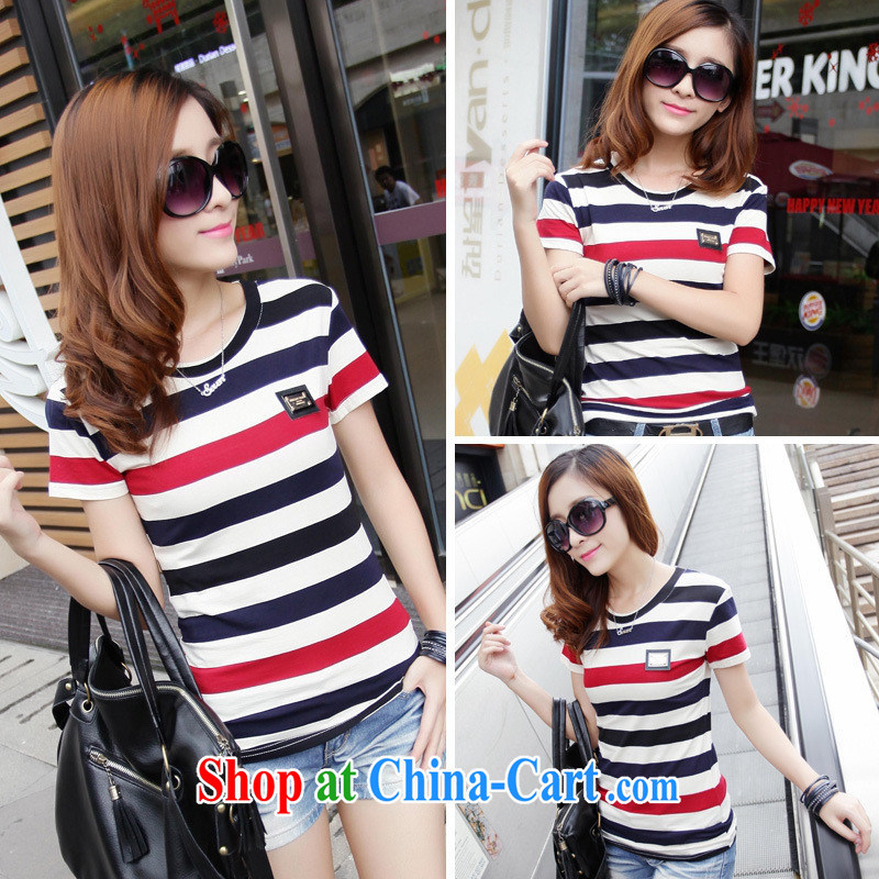 Qin Qing store _summer new Korean female and stylish 100 cultivating ground graphics thin stripes short sleeve shirt T solid shirt stripes XL