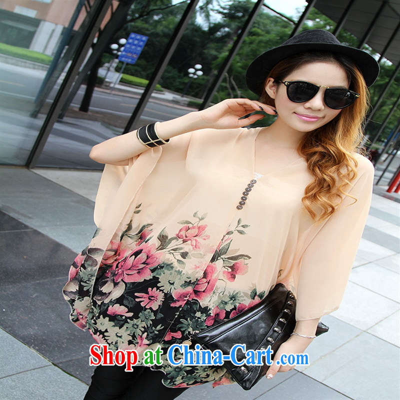 Qin Qing store real-time a pregnant women - New V collar styling suits the code snow woven T-shirt Orange Pink large code XL