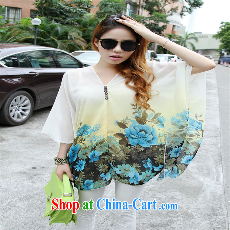 Qin Qing store real-time a pregnant women - New V collar styling suits the code snow woven T-shirt large white code XL