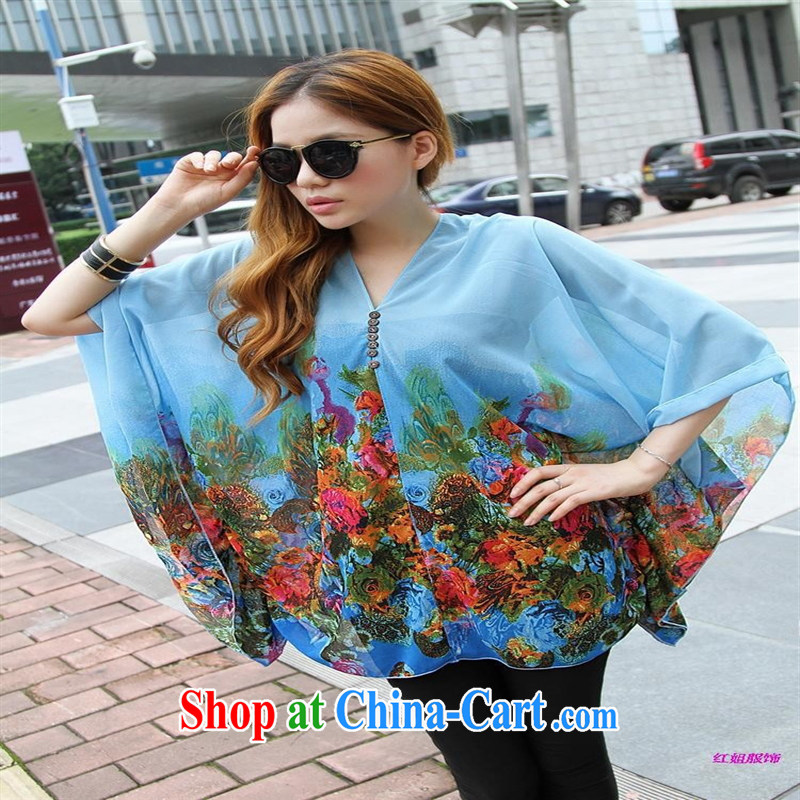 Qin Qing store real-time shot pregnant women - New V collar styling suits the code snow woven T-shirt sky blue sky blue large code XL