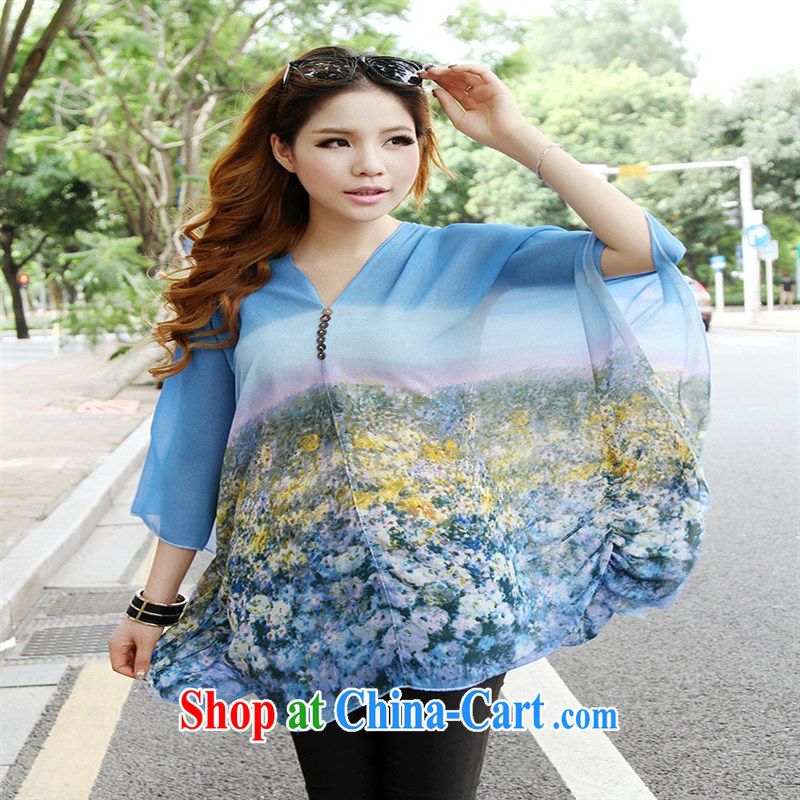 Qin Qing store real-time shot pregnant women - New V collar styling suits the code snow woven shirt blue large code XL