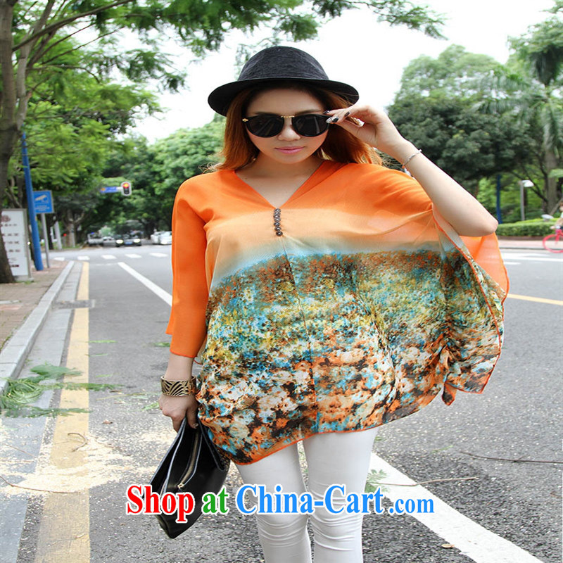 Qin Qing store real-time a pregnant women - New V collar styling suits the code snow woven T-shirt orange large code XL