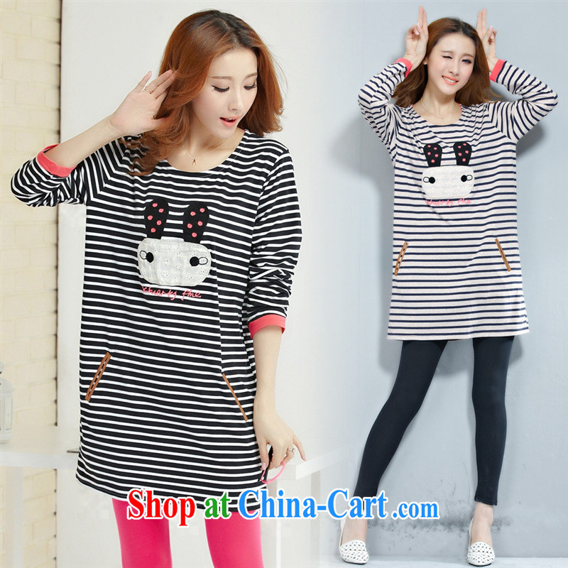 Deloitte Touche Tohmatsu sunny store new autumn the Korean female rabbit streaks the code long-sleeved shirt T blue gray XL