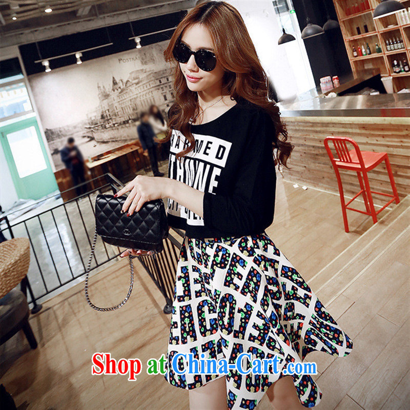 Qin Qing store _2015 spring new T shirts girls stylish 100 stamp duty on cotton T shirt T-shirt street trendy black XL