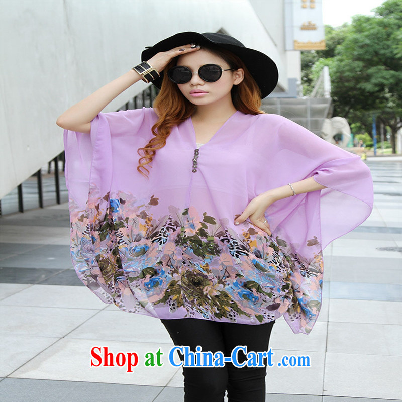 Qin Qing store real-time shot pregnant women - New V collar styling suits the code snow woven shirts violet large code XL