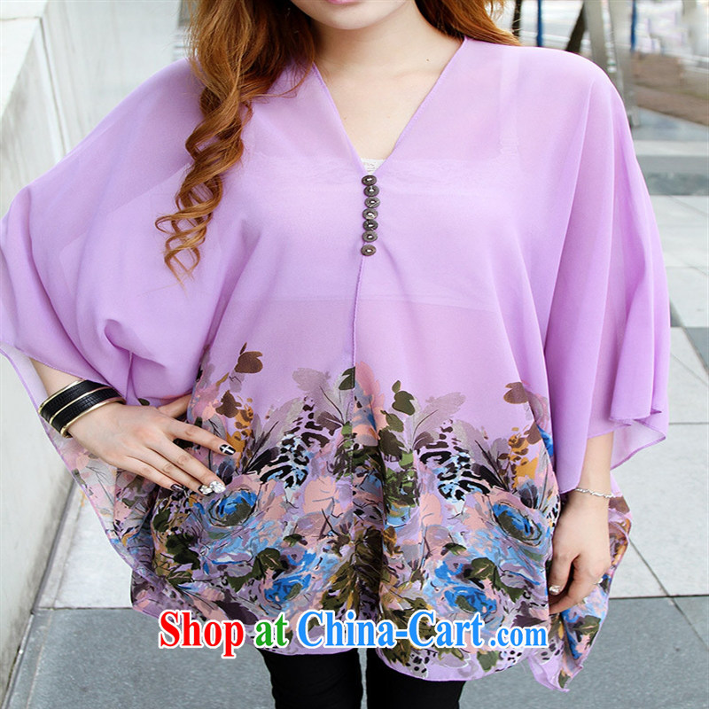 Qin Qing store real-time a pregnant women - New Products V collar styling suits the code snow woven shirts violet large code XL, GENYARD, online shopping