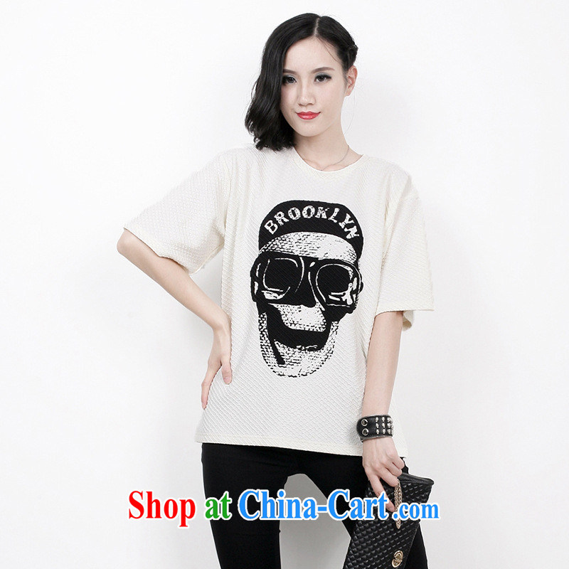 Qin Qing store (only) Autumn and the new paragraph 5 of stamp duty cuff larger loose T pension white XL