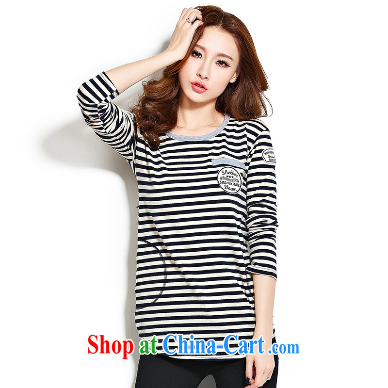 Qin Qing store _real-time concept 2015 Spring Edition won round-collar streaks the code female T-shirts female new loose cotton female T pension red 2 XL