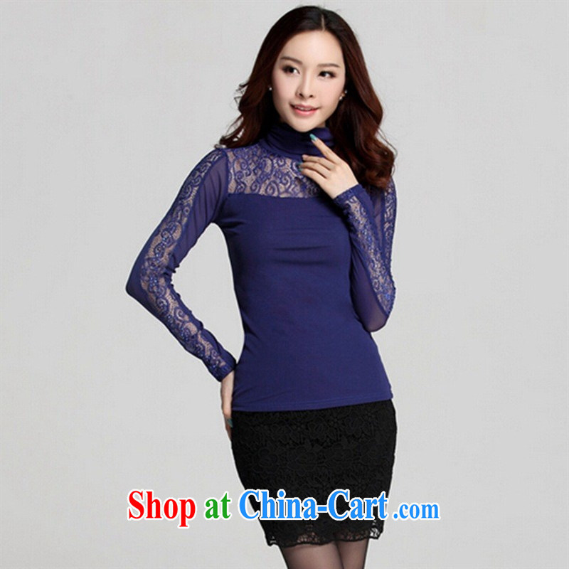 Qin Qing store (only) Autumn and the New Korean high-collar long-sleeved Web yarn hot drill-solid color T-shirt women T-shirt purple XXXL