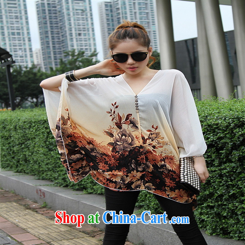 Qin Qing store real-time a pregnant women - New V collar styling suits the code snow woven T-shirt white large code XL