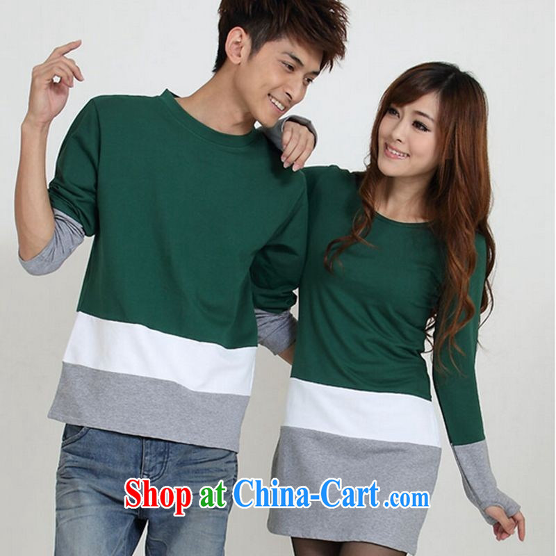 Deloitte Touche Tohmatsu store sunny fall couples with long-sleeved Korean female long couples skirt solid couples with green men XXL