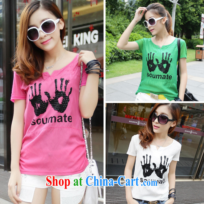 Qin Qing store _Korean fashion stamp rivets video thin short-sleeve girls T-shirt T-shirt women, female Green XXL