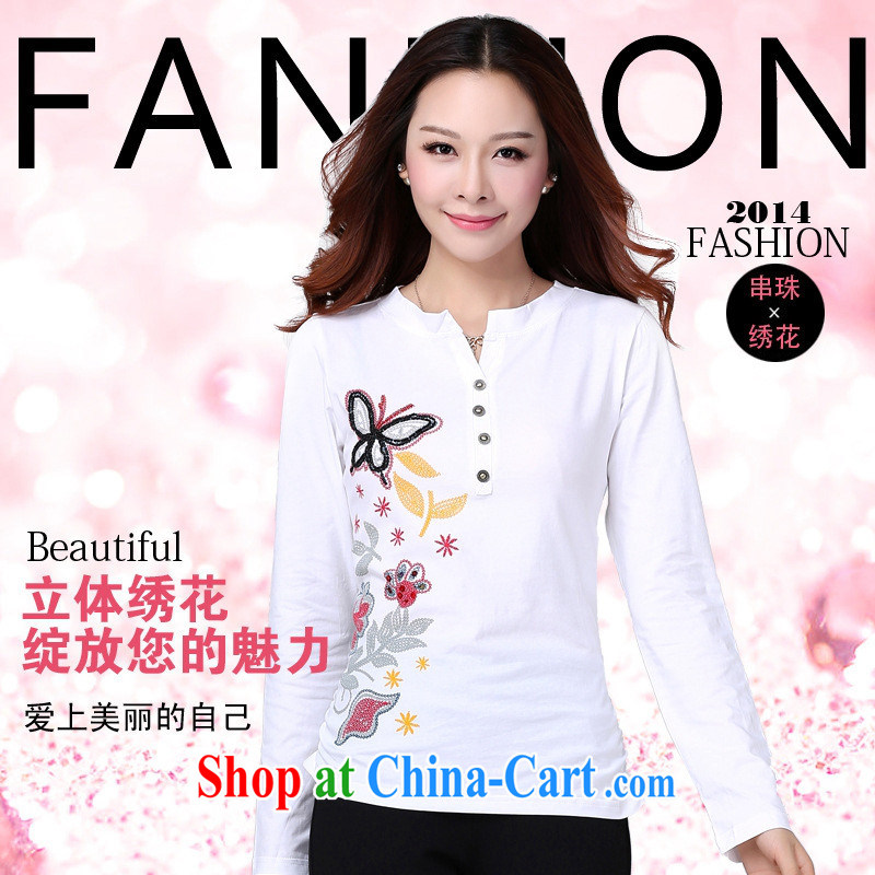 Qin Qing store spring new women who decorated ground 100 V collar butterfly manually staple Pearl cotton long-sleeved T-shirt and fresh white XXL