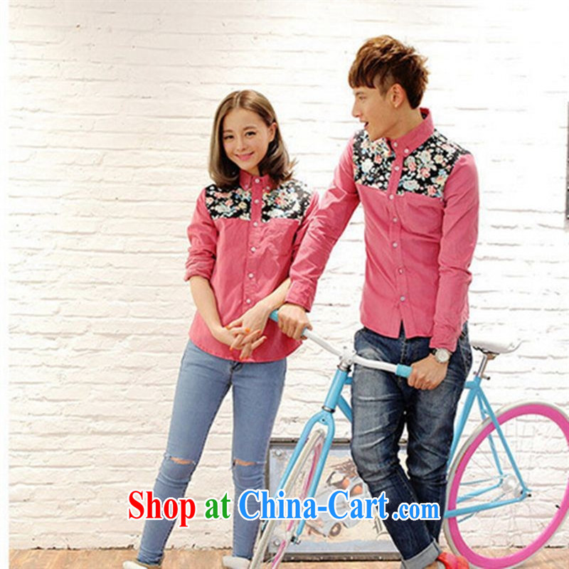 Qin Qing Store months The New floral stitching long-sleeved retro couples with corduroy shirt denim blue XXL
