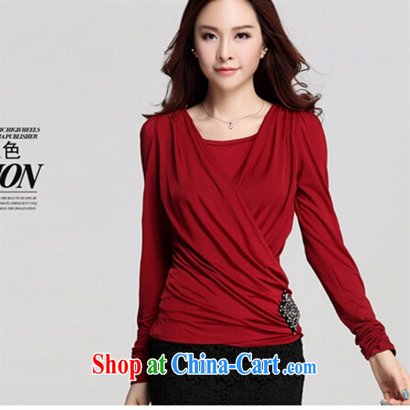 Qin Qing store (only) Autumn and replace the code T-shirt long-sleeved high-end solid T-shirt girls round collar plain colored T-shirt T-shirt black XXXL, GENYARD, shopping on the Internet