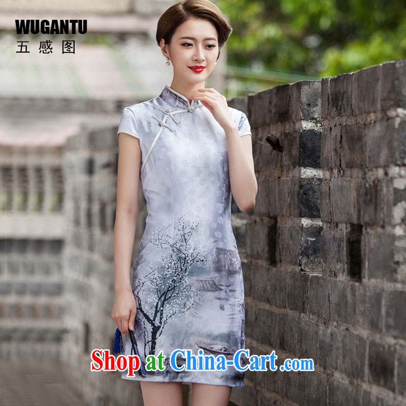 5 AND THE 2015 spring and summer new painting classic short-sleeve cheongsam dress retro fashion China wind everyday, qipao WGT 1107 water color XL