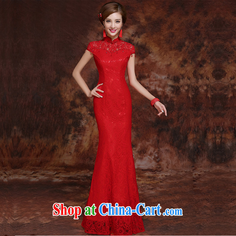 Honey, bride 2015 new short and long dresses, bride toast wedding dress uniform red lace improved Palace the Code Red outfit long XXL