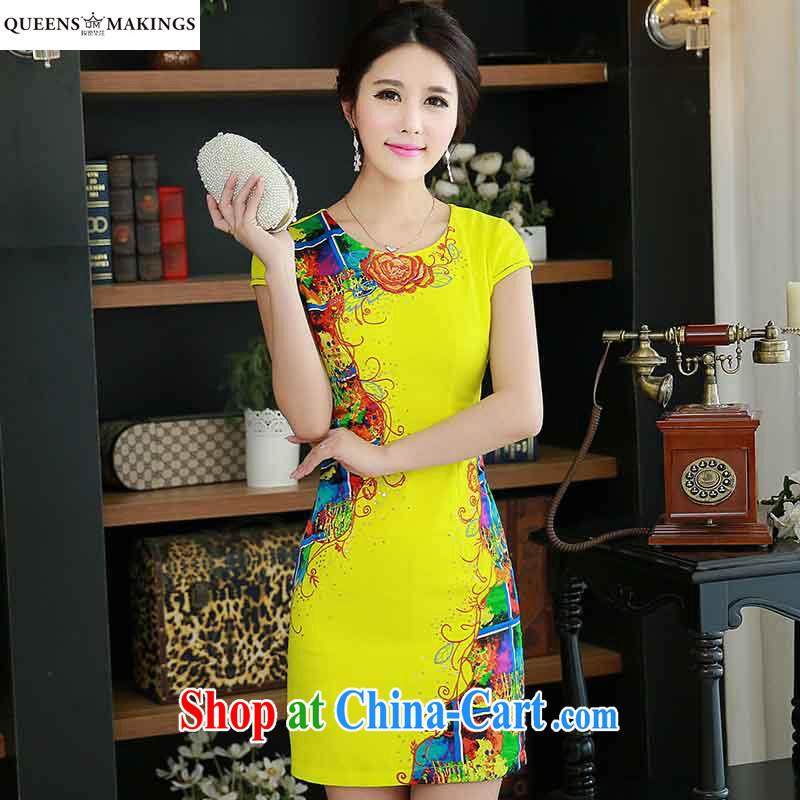 QueensMakings summer 2015 new round-collar improved retro short cheongsam dress stylish beauty dress QM 15 110 yellow XXL