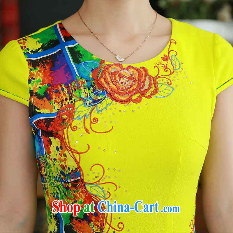 QueensMakings summer 2015 new round-collar improved retro short cheongsam dress stylish beauty dress QM 15 110 yellow XXL, Chun Yat-wah (QueensMakings), online shopping