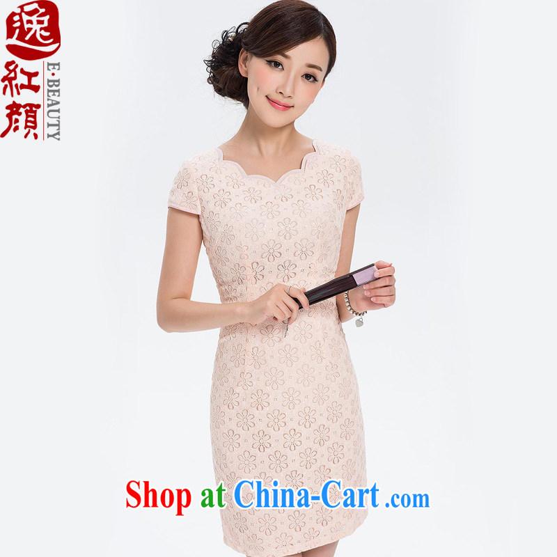 Once Mephidross fatally jealous Ms Audrey EU lace cheongsam dress retro elegant qipao skirts 2014 summer improved stylish beauty pink L