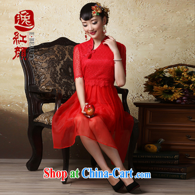proverbial hero once and for all, Mr NGAN Kam-chuen 2015 spring and summer new lace bridal cheongsam dress Chinese Dress bride toast with red XL