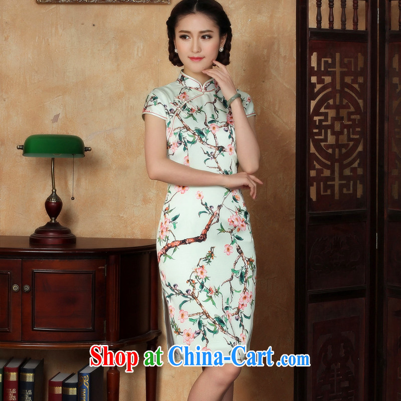 The absence of her dream new improved cheongsam daily summer short-sleeve and collar cheongsam dress Y C green (5126 ) XL