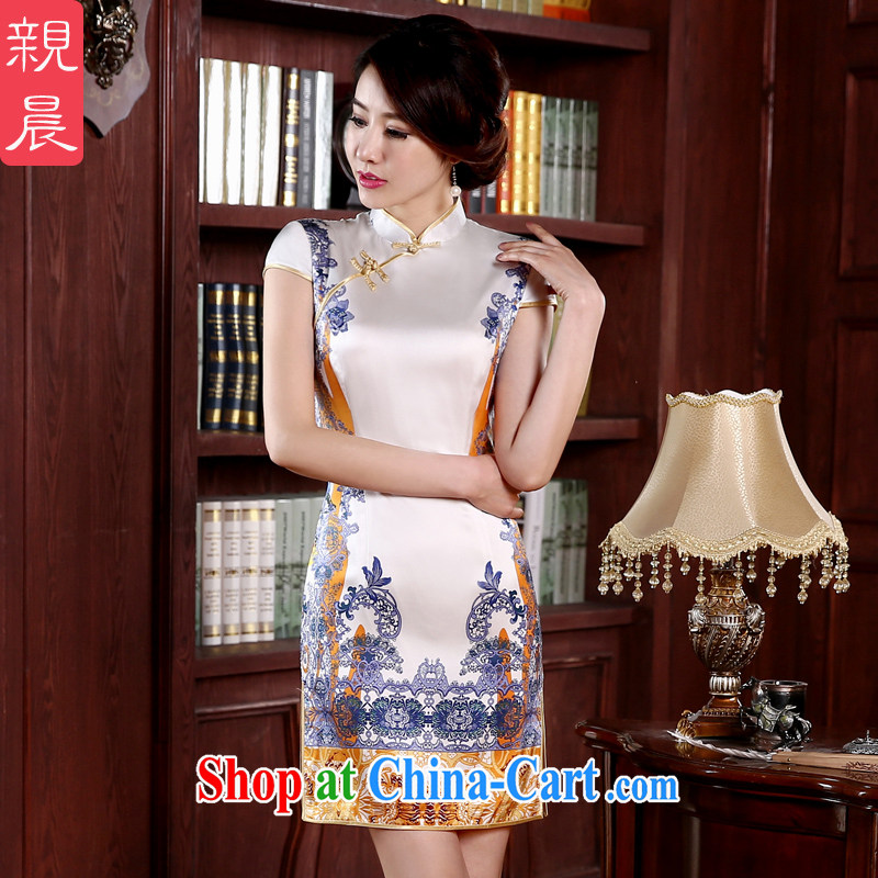 pro-am 2015 new day spring and summer sauna silk upscale retro short, cultivating improved stylish Silk Cheongsam short XL