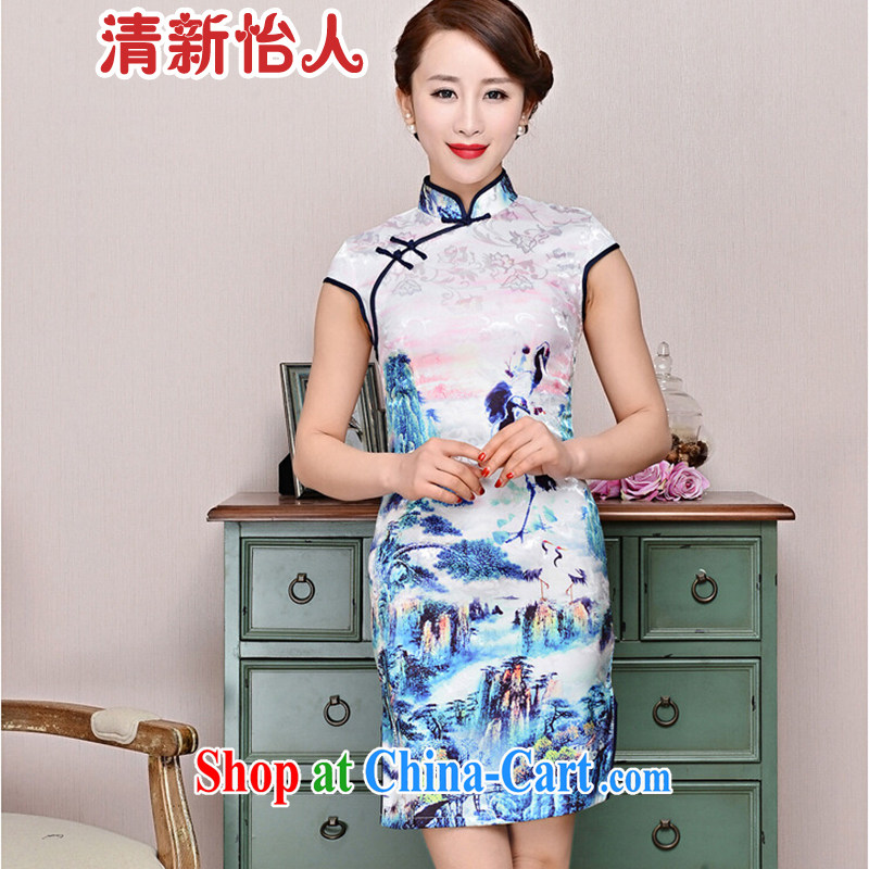 Refreshing new Ethnic Wind elegant low the forklift truck serving toast improved cheongsam dress summer T-shirt dresses female black collar, crane figure XXL