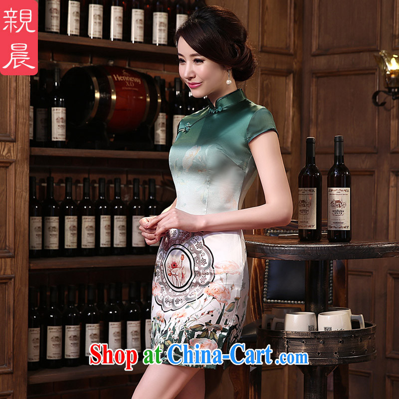 pro-am 2015 new spring and summer daily sauna silk exclusive beauty fashion improved short silk retro dresses short 3 XL
