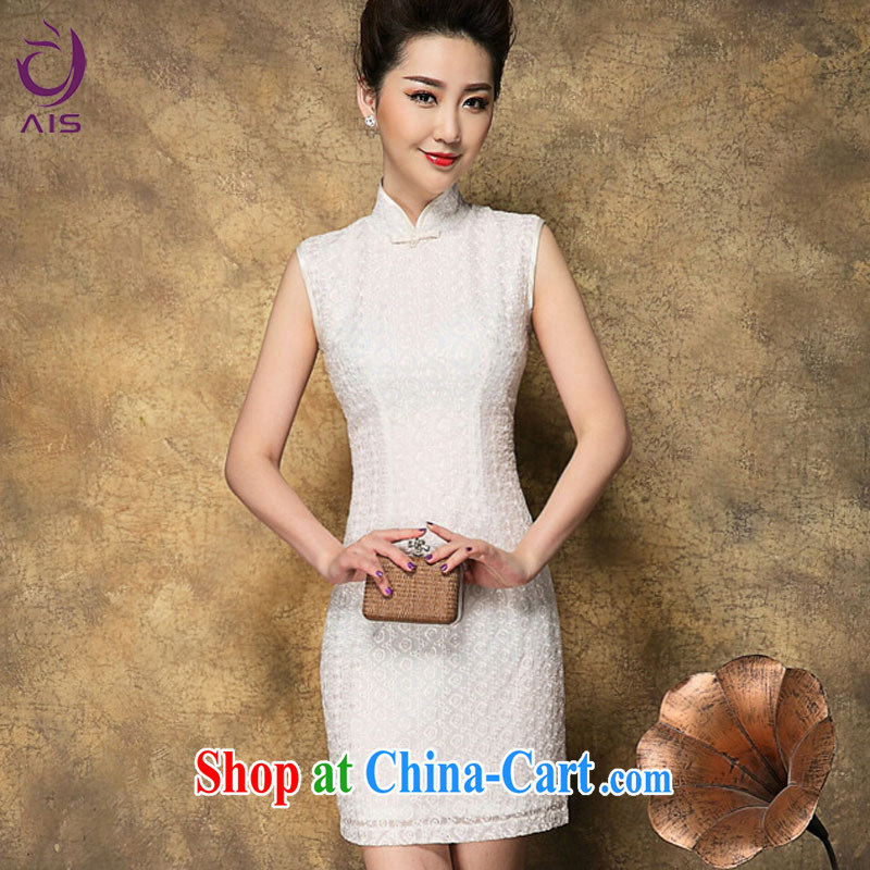 She made the 2015 summer new Chinese qipao dress snowflake embroidered sleeveless white aura short daily outfit white L