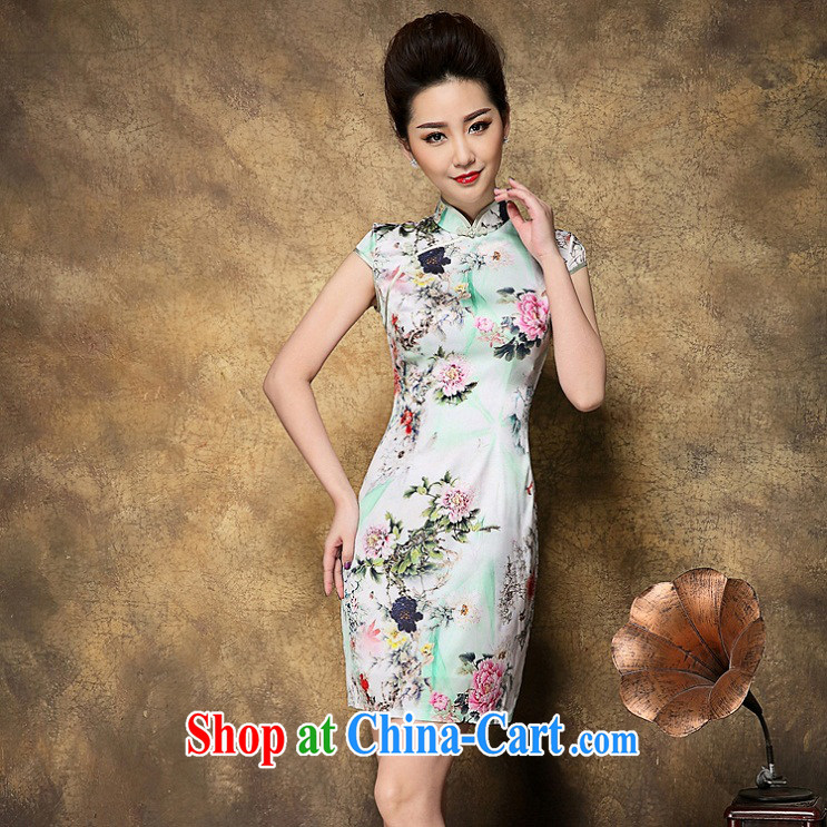 She made the 2015 summer new upscale style dresses, older MOM stamp beauty graphics thin sleeveless Silk Cheongsam green L