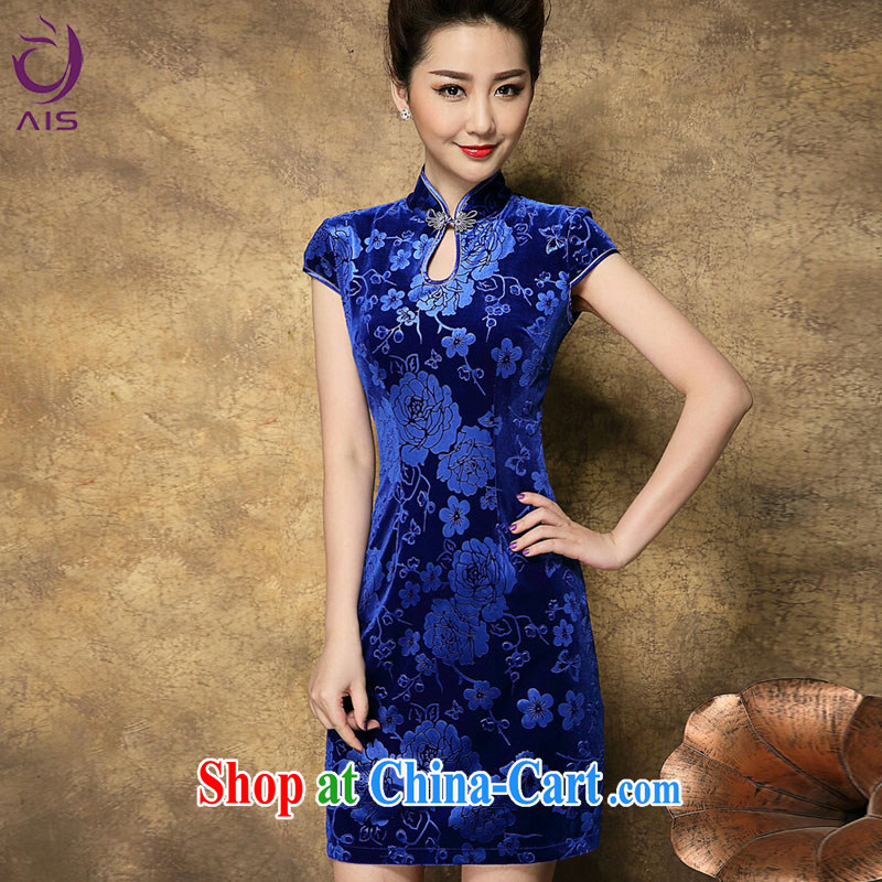 Still, the 2015 summer new dresses, older mothers with dresses Chinese old beach retro stamp Solid Color dresses skirt blue XXL