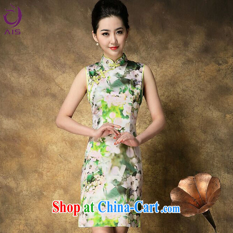 Still, the 2015 summer new stamp sleeveless beauty charm Silk Cheongsam green L