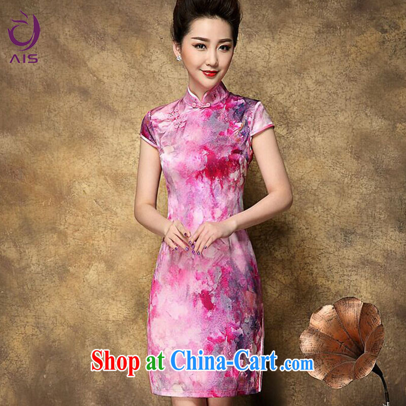 Still, the 2015 summer new retro Western style fashion style beauty dresses ethnic wind Silk Cheongsam floral skirt burgundy L