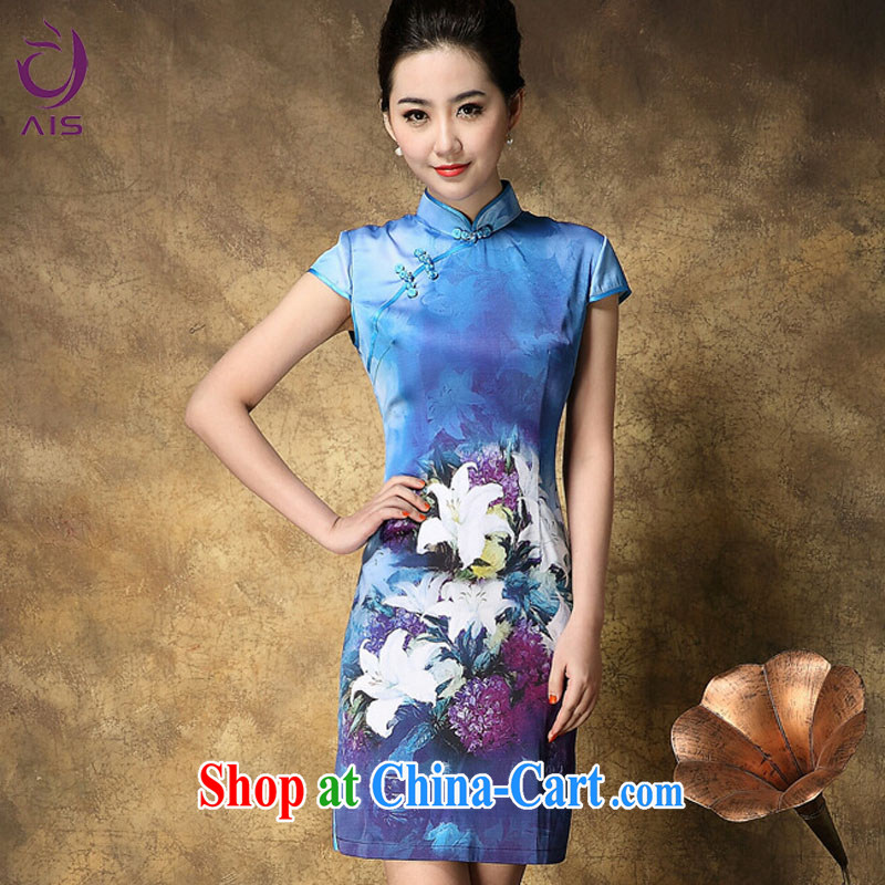 She made the 2015 summer new, older mothers dresses elegance silk cultivation stamp cheongsam blue XXL