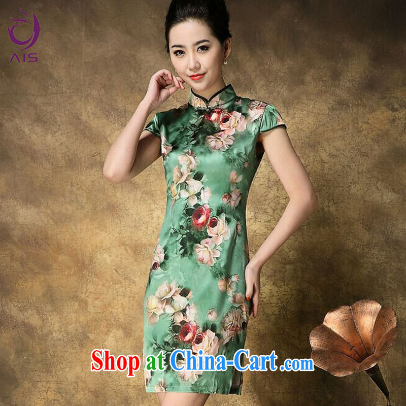 She made the 2015 summer new upscale cheongsam elegant rose stamp short-sleeved Silk Cheongsam dress green XXL