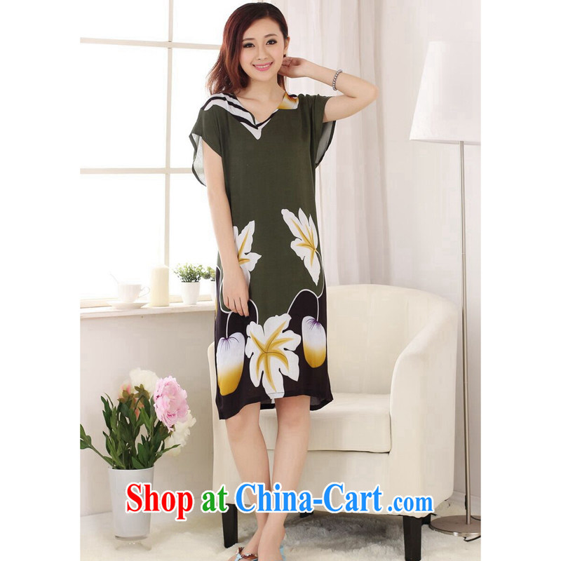 spend the summer with new female Chinese pajamas V collar hand-painted cotton, long, loose short-sleeved bathrobe dresses - A pickles green are code