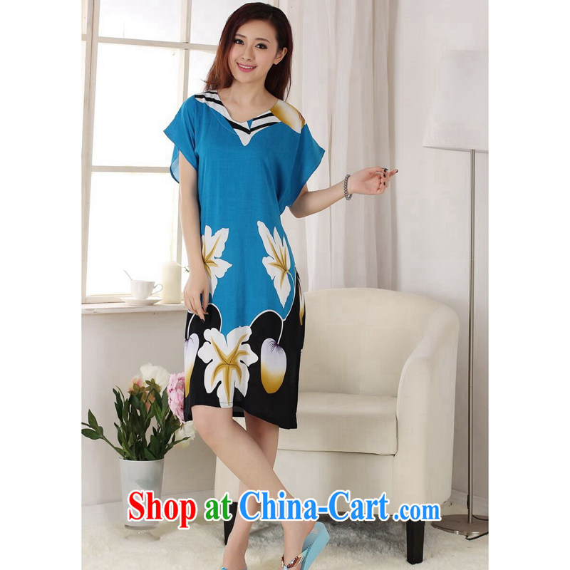 spend the summer with new female Chinese pajamas V collar hand-painted cotton, long, loose short-sleeved bathrobe dress blue lake are code