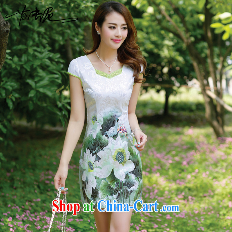 The European site dresses 2015 new summer women cheongsam dress short-sleeved beauty stamp National wind package and skirt 8896 Green lotus XXXL