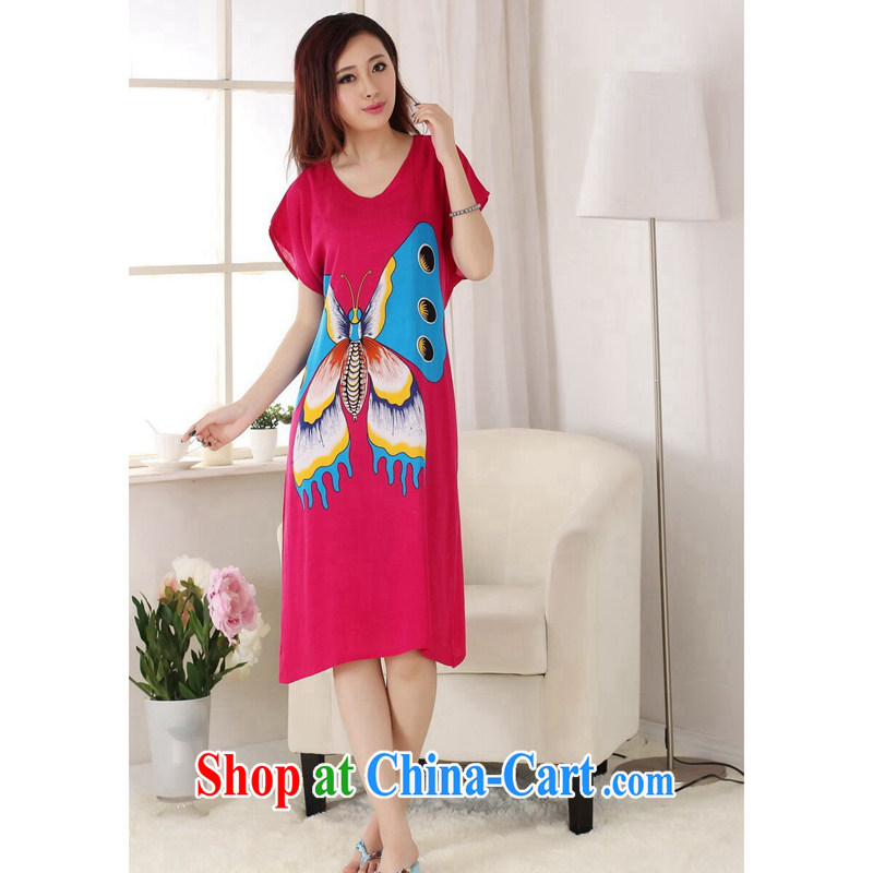 Take the Chinese pajamas ladies summer wear new V collar hand-painted cotton, long, short-sleeved bathrobe dresses of red, code