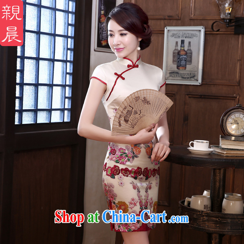 pro-am day 2015 new spring and summer high retro sauna beauty silk short improved stylish Silk Cheongsam short 2 XL - 7 day