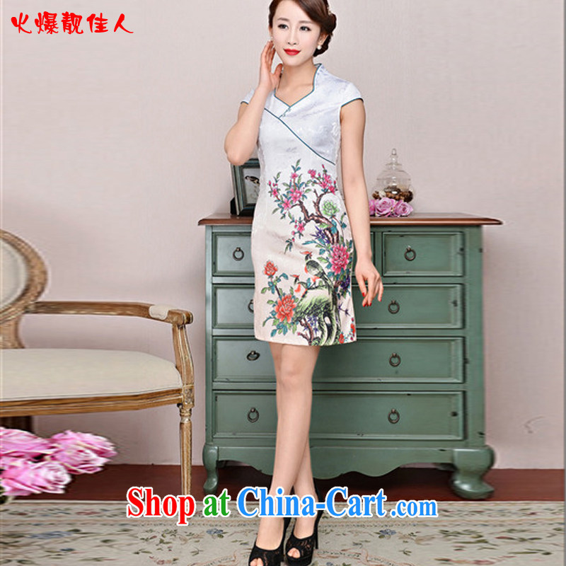 Hot beautiful lady 2015 new summer cheongsam embroidered short Chinese daily dress improved stylish dress style with white on two birds XXL