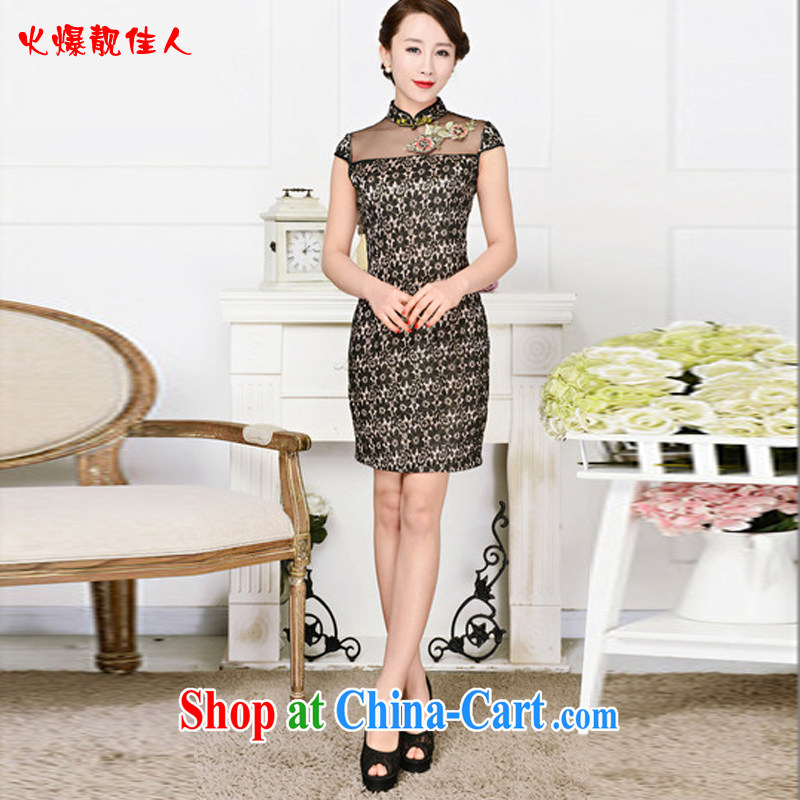Hot beautiful lady 2015 new spring sleeveless Korea wind retro improved cheongsam plain-color daily qipao cheongsam dress black lace peony flowers XXL