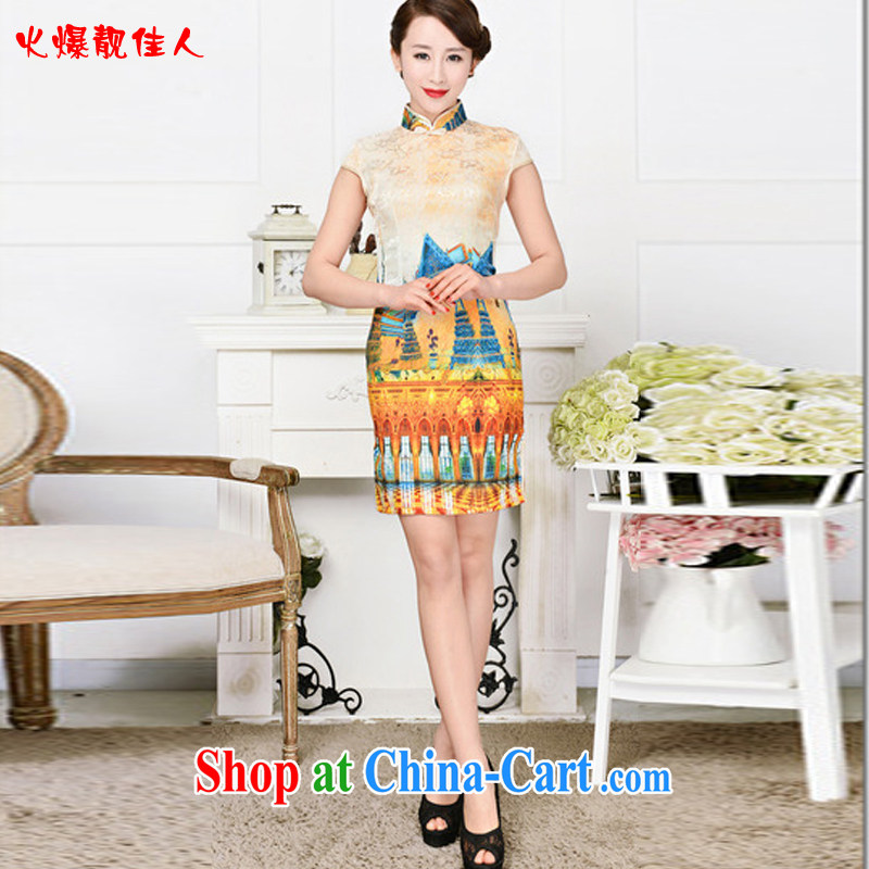 Hot beautiful lady summer 2015 new improved fashion style beauty Art Nouveau tartan short cheongsam dress White Palace figure XXL