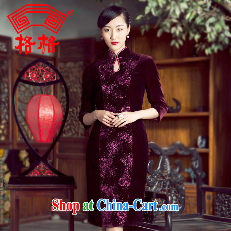 Princess spring and summer new sauna silk lint-free cloth, iron, long-sleeved 7 cuffs, long dresses, female wine red 8XL