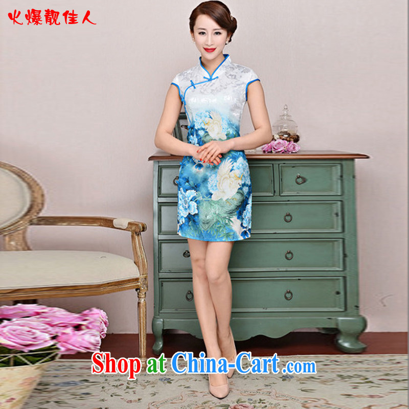 Hot beautiful lady 2015 spring and summer new improved stylish dresses�daily short-sleeve beauty graphics thin ethnic wind cheongsam dress blue-collar, small bird figure XXL