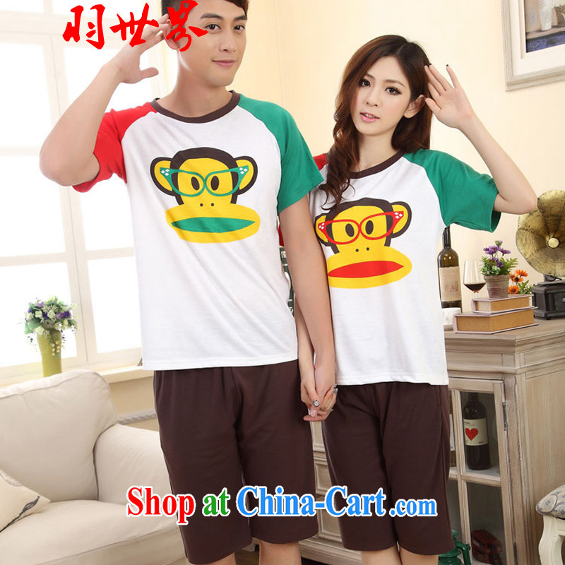 Badminton World new cotton short-sleeve kit pajamas big mouth monkey couples Mount Kit 1013 FA R 6622 brown XL