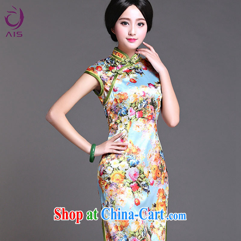 She made the 2015 summer new daily temperament cheongsam dress green XXL