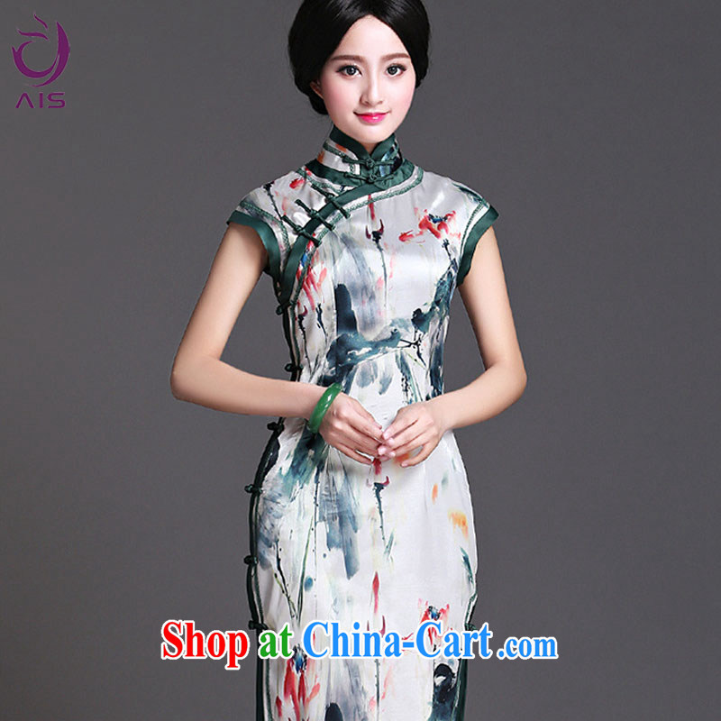 She made the 2015 summer new daily temperament cheongsam dress light gray XXL